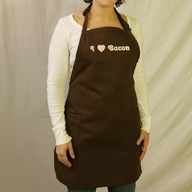I Love (Heart) Bacon Apron - Brown w/ Pockets