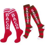 Bacon & Sausage Socks Set - Adult Knee High Gym Socks (2 Pairs)