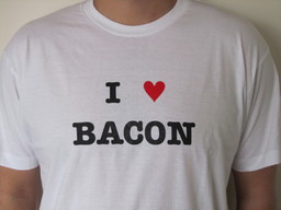 I Love (Heart) Bacon T-shirt - White Tee Shirt (Men's Large)