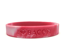 Bacon Love Wristband - I Heart Bacon - Silicone Wrist Band Rubber Bracelet