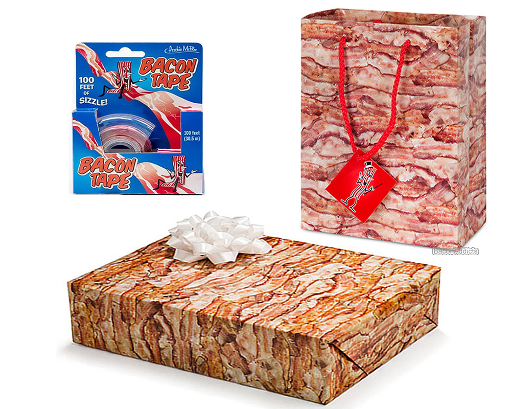 bacon gift wrapping kit 3 pc set gift wrap paper tape gift bag with card. Black Bedroom Furniture Sets. Home Design Ideas