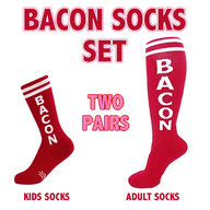 Bacon Socks Set - Adult & Kid Gym Socks (2 Pairs)