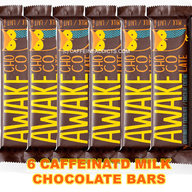 Awake Caffeinated Milk Chocolate Energy bar with Caffeine (6 Bars)