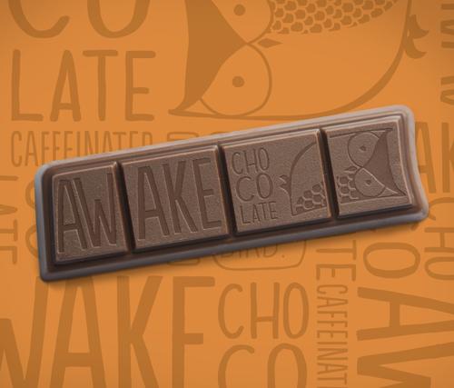 awake caffeinated milk chocolate energy bar with caffeine
