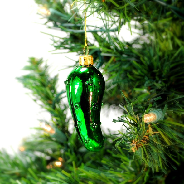 Christmas Pickle Green Glass Tree Ornament German Legend Holiday ...