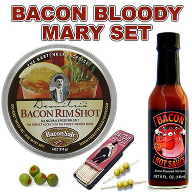 Bacon Bloody Mary Pack (3pc Set) - Bacon Cocktail Rim Salt, Hot Sauce & Toothpicks