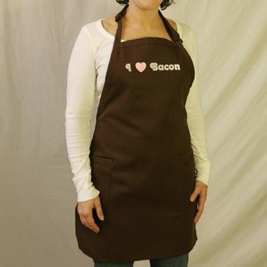 I Love (Heart) Bacon Apron - Brown w/ Pockets