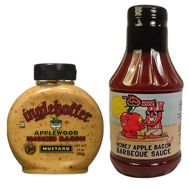 Bacon Mustard & Bacon BBQ Sauce Combo Pack (2pc Set) - Applewood Smoked Bacon Mustard & Honey Apple Bacon Barbecue Sauce