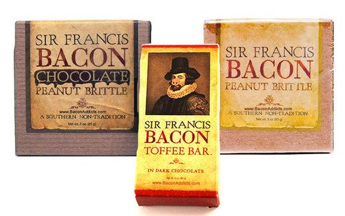 Sir Francis Bacon Sampler Pack (3pc Gift Set) - Bacon Peanut Brittle, Milk Choc Brittle & Dark Choc Toffee (3 pc)