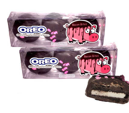 Bacon Dark Chocolate Covered Oreos - TWO PACK - Double Stuf Oreo Cookies Dipped in Dark Chocolate