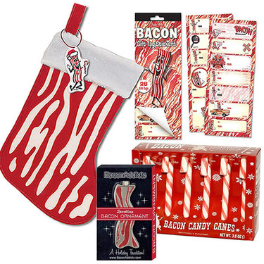Bacon Christmas Holiday Sampler Gift Pack (4pc Set) - Bacon Stocking, Bacon Candy Canes, Bacon Gift Tag Stickers & Bacon Ornament
