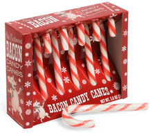 Bacon Candy Canes - Striped Bacon Flavored Holiday Candy Canes (6ct Box)