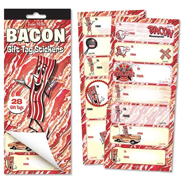 Bacon gift tag stickers