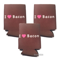 I Love (Heart) Bacon Koozie Drink Cooler - 3 Pack - Brown w/ Pink Heart