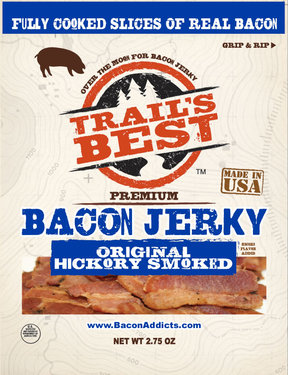 Trail's Best Bacon Jerky - Hickory Smoked - 100% Real Bacon Slices (2.75 oz)
