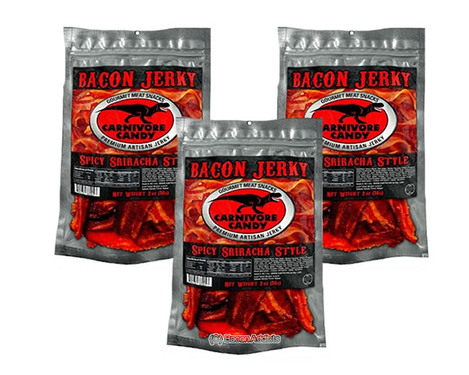 Carnivore Candy Bacon Jerky - Spicy Sriracha - Three Pack (3 x 2 oz bags)