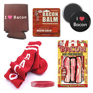Deluxe Bacon Lovers Gift Pack (6pc Set) - Bacon Socks, Drink Koozie, Wristband, Air Freshener, Lip Balm & I Love Bacon Magnet
