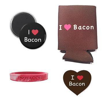 I Love Bacon Gift Pack (4pc Set) - I Heart Bacon Drink Koozie, Wristband, Magnet & I Love Bacon Sticker