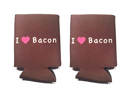 I Love (Heart) Bacon Koozie Drink Cooler - 2 Pack - Brown w/ Pink Heart