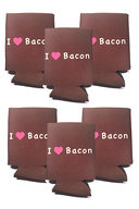 I Love (Heart) Bacon Koozie Drink Cooler - 6 Pack - Brown w/ Pink Heart