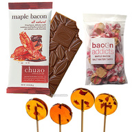 Maple Bacon Sampler Pack (3pc Gift Set) - Maple Bacon Lollipops, Chuao Maple Bacon Milk Chocolate Bar & Maple Bacon Salt Water Taffy