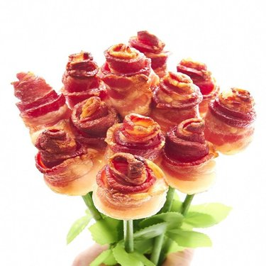 Bacon Roses - One Dozen - Bacon Bouquets Long Stem Bacon Rose Bouquet