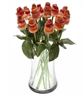 Bacon Roses Vase - One Dozen Long Stem Bacon Rose Bouquet with Vase