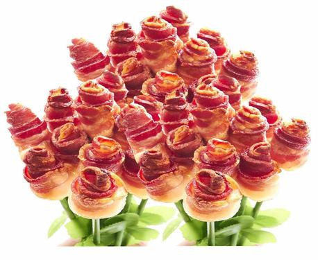 Extreme Bacon Roses - Three Dozen Long Stem Bacon Rose Bouquet
