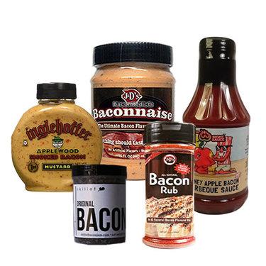 Bacon Burger BBQ Gift Pack (5pc Set) - Baconnaise, Bacon Jam, Barbecue Sauce, Rub & Bacon Mustard