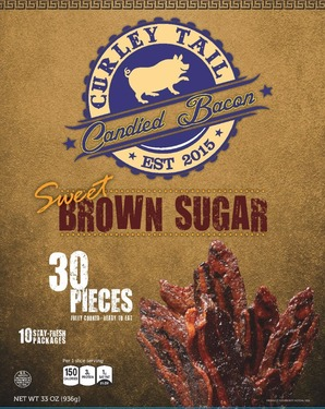 Curley Tail Brown Sugar Candied Bacon -Thick Cut Sweet Candied Bacon (30 pieces)