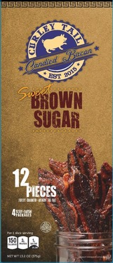 Curley Tail Brown Sugar Candied Bacon -Thick Cut Sweet Candied Bacon (12 pieces)