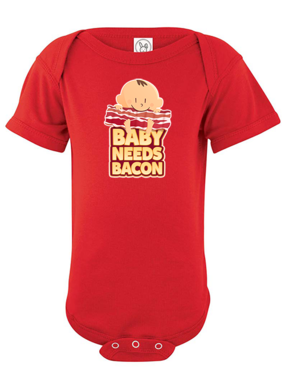 Baby Needs Bacon Infant Onesie - Super Soft Cotton Bodysuit (Red)