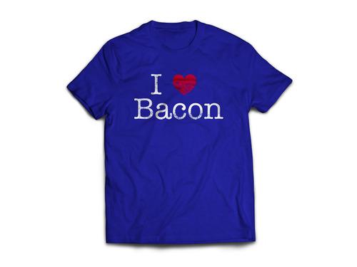 I Heart Bacon Tee Shirt - I Love Bacon Unisex Adult T-Shirt (Royal Blue)
