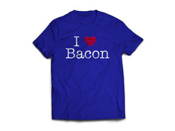 I Heart Bacon Tee Shirt - I Love Bacon Unisex Adult T-Shirt (Royal Blue)