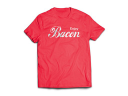Enjoy Bacon Tee Shirt - Unisex Adult T-Shirt (Red)