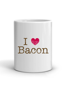 I Heart Bacon Coffee Mug - I Love Bacon Classic White Coffee Tea Cup