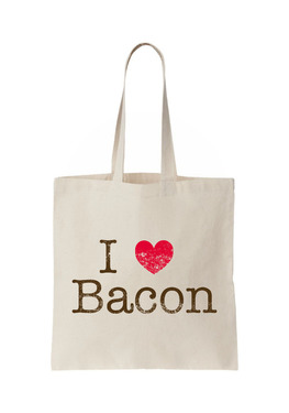 I Heart Bacon Tote - I Love Bacon Natural Canvas Bag