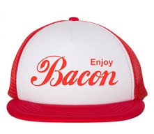 Enjoy Bacon Trucker Hat - Foam Front Mesh Back Adjustable Cap (White/Red)