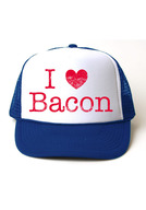 I Heart Bacon Trucker Hat - I Love Bacon Foam Front Mesh Back Adjustable Cap (White/Rotal)