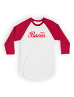 Enjoy Bacon Baseball Tee Shirt - Unisex 3/4 Sleeve Adult T-Shirt (White/Red)