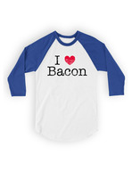 I Heart Bacon Baseball Tee Shirt - I Love Bacon Unisex 3/4 Sleeve Adult T-Shirt (White/Royal)