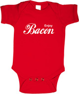 Enjoy Bacon Infant Onesie - One Piece Cotton Baby Bodysuit (Red)