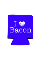 I Heart Bacon Koozie - I Love Bacon Neoprene Drink Cooler Sleeve (Purple)