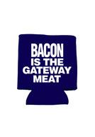 Bacon is the Gateway Meat Koozie - Neoprene Drink Cooler Sleeve (Blue)