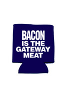 Bacon is the Gateway Meat Koozie - Neoprene Drink Cooler Sleeve (Blue)