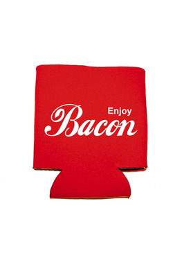 Enjoy Bacon Koozie - Neoprene Drink Cooler Sleeve (Red)