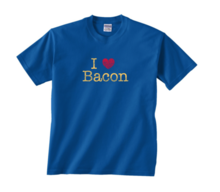 I Heart Bacon Kids Tee Shirt - I Love Bacon T-Shirt Toddler & Youth (Royal Blue)