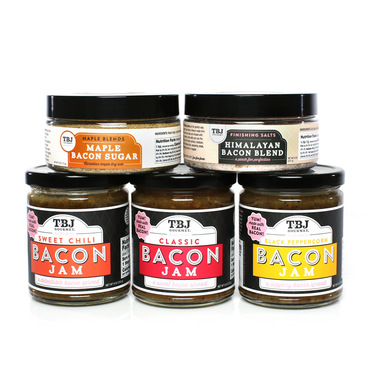 Big Boar Bacon Samper Gift Pack (5pc Set) - Classic, Black Pepper & Sweet Chile Bacon Jam + Maple Bacon Sugar & Himalayan Bacon Salt