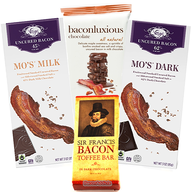 Deluxe Bacon Chocolate Sampler Gift Pack (4pc Set) - Vosges Milk Bar, Vosges Dark Bar, Chuao Maple Bacon Bar & Toffee