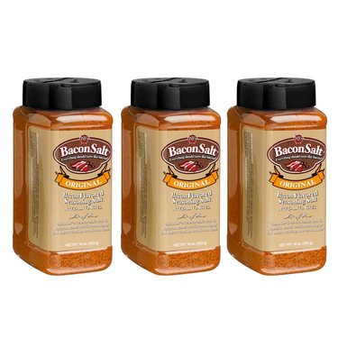 J&D's Big Pig 16 oz Original Bacon Salt (3 Pack) - Low Sodium Bacon Flavored Seasoning